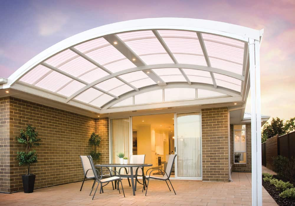 Outdoor Living Space with Curved Roof